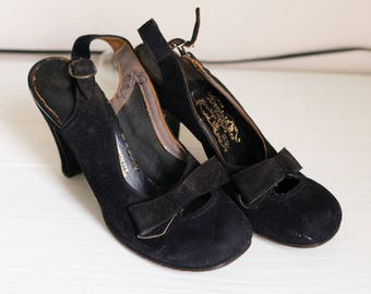 Vintage 30s 40s Slingback Round Toe Heels Pumps 5 Vtg