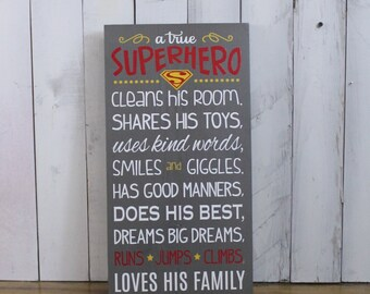 A true SUPERHERO/Subway Style/Boy Sign/Boy's Decor/Gift/Gray/Red/Yellow/White/Wood Sign/Superman/Hero/Boy Rules/Wood