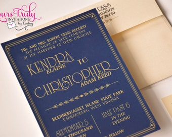Sample - Bold Gatsby 1920's Art Deco Blue and Gold Wedding Invitation Set Custom in your colors