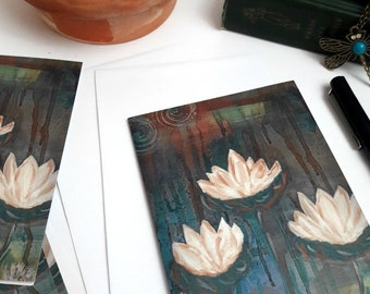 Note card set, pack of note cards, blank inside, thank you cards, greeting cards, birthday cards, get well soon cards, Three Lotus Flowers