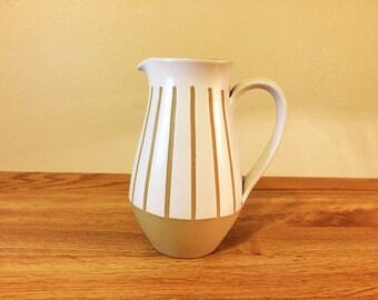 Vintage Denby England Stoneware Gourmet Creamer Striped Handle 1960s