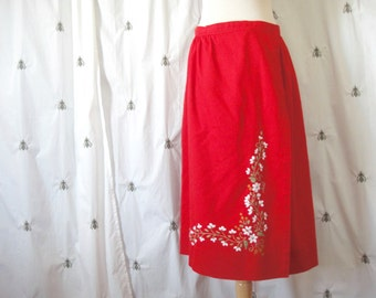 Vintage Flower Embroidered Red Wrap Skirt, A Line Midi, Knee Length, Size Large, White Flowers