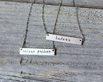 Badass Silver Bar Necklace, Badass Goddess Necklace, Hand Stamped Badass Jewelry, Jewelry for Badass Women Sister Necklace Best Friend Gifts