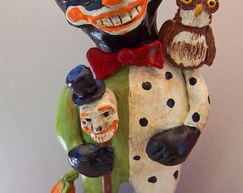 Folk Art Whimsical Halloween Black Cat Owl Skeleton Vintage Nostalgic Doll
