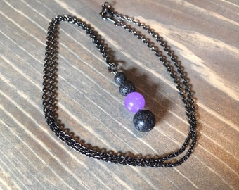 Lava Stone & Amethyst Pendant Necklace. Essential Oil Diffuser Jewelry, Aromatherapy