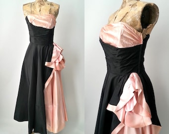 Vintage 1950s Dress, 1950s Gown, Fred Perlberg, Black Strapless Gown, Pink 50s Gown, Formal 1950s Dress, 50s Prom Dress, Black & Pink Dress