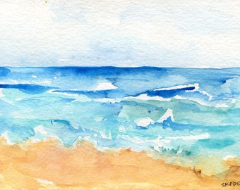 Seascape watercolors paintings, 4 x 6 inches, Original, modern seascape paintings, watercolor seascapes, original ocean art, SharonFosterArt
