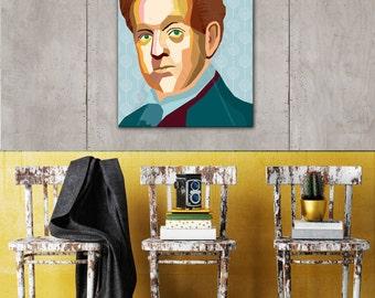 "Portrait ""Gerhart"" - Tribute to Gerhart Hauptmann FRAMED ART, Literature, iconArt, Personalized Gift, Name, Book Lover, Gift, For Women, For"