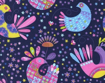 Birds Feather Flock Navy Tamara Kate Michael Miller Fabric 1 yard