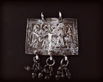 Ancient Tribal Silver Amulet, Himachal Pradesh, Ethnic Himalayas Jewelry, Hindu Epics, Occult Jewelry, Protection Pendant, Gypsy Jewelry