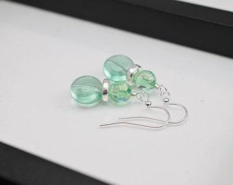 Mint Green Earrings, Silver Earrings, Light Green Earrings, Green Earrings, Peridot Earrings, Pale Green Earrings, Green Drop Earrings