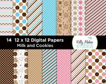 Milk and Cookies - Designer Paper Pack - Digital Elements for Cards, Stationery, Backgrounds, Paper Crafts and Products
