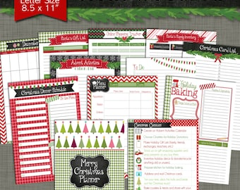 Merry Christmas Printable Planner - Size Large 8.5 x 11 PDF - Instant Download