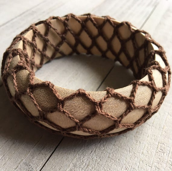 Boho Bracelet - Wide Wood and Crochet - Bohemian Jewelry - Gift for Her