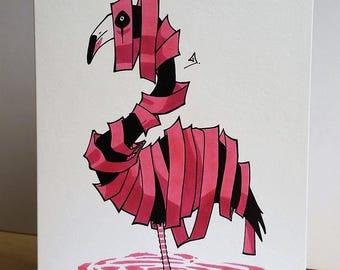 Flamingo Greeting Card/ Flamingo Card/ Animal Greeting Card/ Handmade Card/ Blank Card/ Fine Art Card/ Quirky Card/ Unravimal/ Random