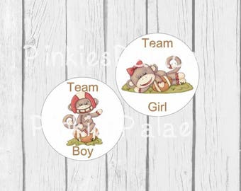 Gender Reveal Stickers Team Boy Team Girl Football with Monkey Gender Party