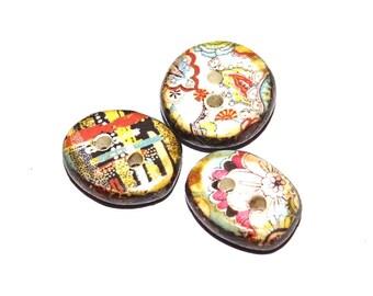 Ceramic Floral Buttons Stoneware Handmade Unique Rustic