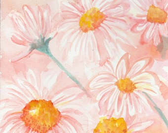 Shasta Daisies Watercolor Painting Original, 8 x 10 White flowers on coral background, Flower Art, small floral wall art SharonFosterArt