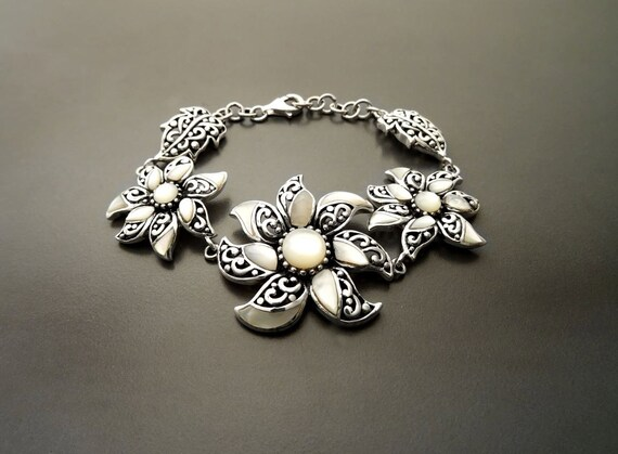 Boho Filigree Bracelet - Sterling Silver - MOP Bracelet - Flowers Pattern - Flower Bracelet - Lace - Indie - Boho Bracelet - Hipster - Gypsy