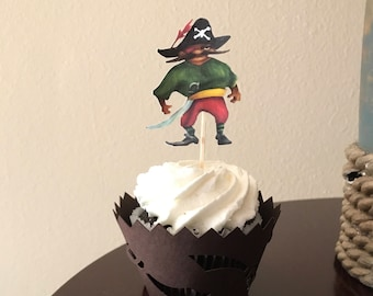 Pirate cupcake wraps and toppers