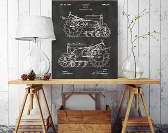 Tractor Blueprint, Farm Tractor Patent Print, Farm Patent Print, Printed on Canvas, Vintage Wall Decor, Vintage Wall Decor
