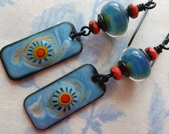 You Are My Sunshine, Boho Enamelled Copper Earrings, Funky Jewelry, Sky Blue Earrings, MoltenMagpie, 5FishDesigns, Northernblooms