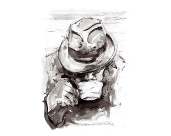 Man with Tea: Giclée Fine Art Print.