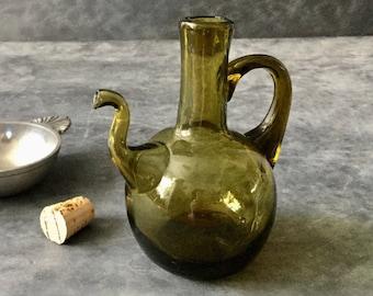 VINTAGE Green Glass Cruet - Oil or Vinegar Flask - Forest Green Mouth Blown Gooseneck Bottle - Turkish or Persian