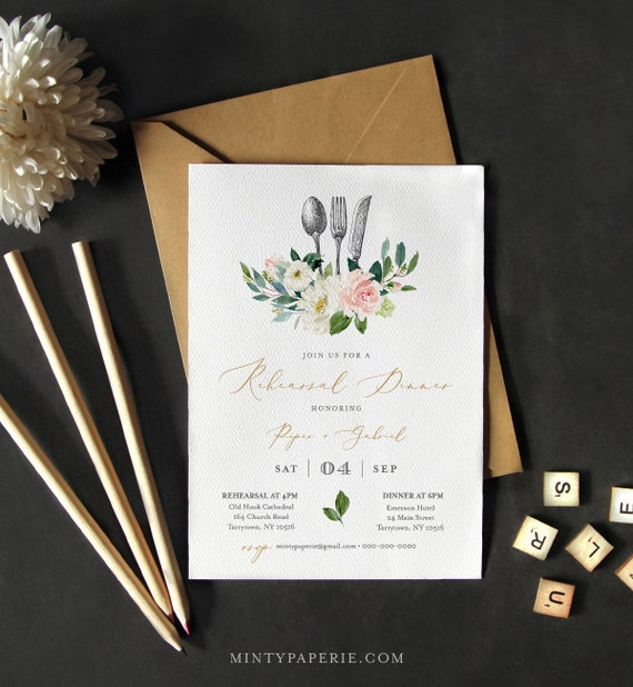 Rehearsal Dinner Invitation INSTANT DOWNLOAD, 100% Editable Template, Printable Wedding Rehearsal Invite, Blush Floral & Greenery #043-128RD