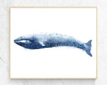Blue Whale Watercolour Fine Art Print, Coastal Decor, Nautical Decor, Large Wall Poster, Beach House Printable Digital Download