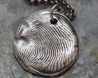 Rustic Fingerprint Necklace - Fine Silver Charm on Sterling Silver Rollo Chain