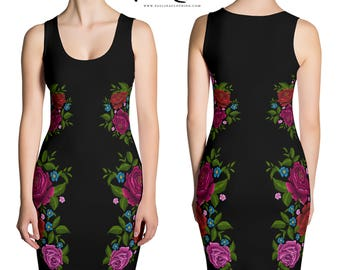 Little Black Dress Bodycon Mexican Embroidery Roses Print Dress by Paulina