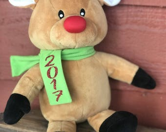 Reindeer, Plush Christmas Animal, Personalized Plush, Christmas Gift, Reindeer Plush, Kids Christmas, Stocking Stuffer, Christmas Reindeer