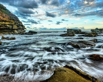 Landscape, Slow Motion Waves, beach, fine art print, photography, wall art, home decor, digital print, photo print, ocean, sea, Australia