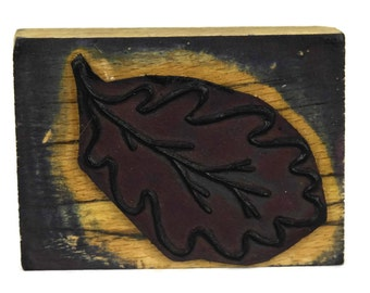 Oak Leaf Rubber Stamp Wood Print Block. Kids Art & Craft Printing Gift. Rustic French Vintage Nursery Decor.