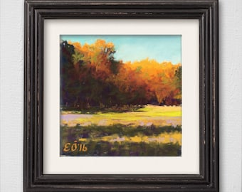 "Original Pastel Painting ""Sunlit Field"""