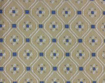 Diamond and Dots - Upholstery Fabric By The Yard - Blue and Yellow Fabric
