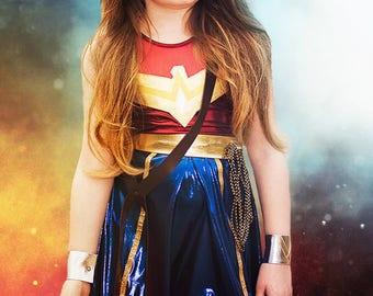 Superhero Costumes for Kids, Girl's Super Hero Costume, Wonder Woman Inspired Costume, Super Hero Dress Up Costume, Amazonian Princess