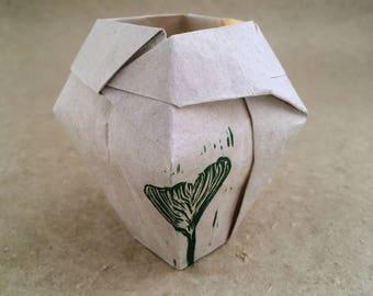 Handmade Paper Vase with Gingko Leaf Print