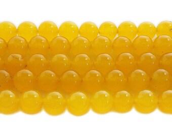 Honey Yellow Jade Round Gemstone Beads