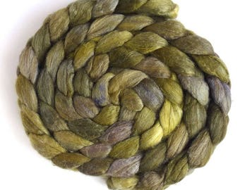 Winter Greens, Polwarth/Silk 60/40 Roving - Handpainted Spinning or Felting Fiber