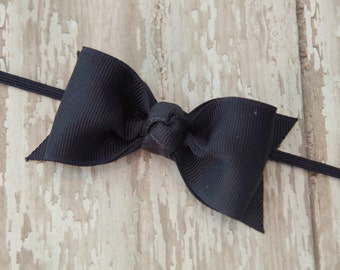 Boutique Navy Tuxedo Bow Skinny Elastic Headband Infant/Toddler Hair Bow Bowband Navy Baby Headband Navy Headband