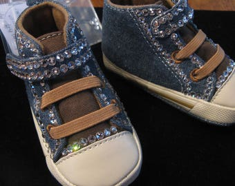 BABY Girl SWAROVSKI  High Top SNEAKERS-Size 3-6 Months-Clear Swarovski-Sparkle Up Your Baby's Tooties!-Baby Bling