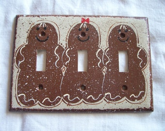 Gingerbread triple light switch cover FREE SHIPPING