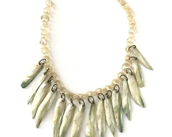 Vintage Celluloid Chain and Mother of Pearl MOP Bib Necklace