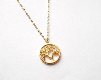 Tree of Life Pendant Necklace - Gold Round Chain Necklace - Small Charm Necklace - Dainty Minimal Jewellery Gift - Boho Nature Jewellery
