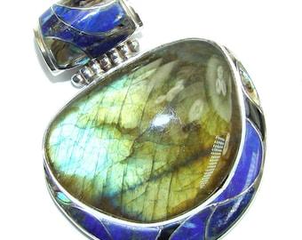 Labradorite, Rainbow abalone, Lapis Lazuli, Onyx Sterling Silver Pendant - weight 22.50g - dim L - 2, W - 1 5 8, T - 3 8 inch - code 26-lip-