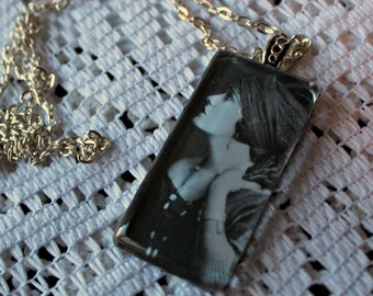 Louise Brooks. necklace. Handmade. Silver chain. Black & white photo. Glass pendant.