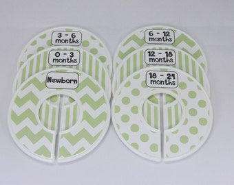 Custom Baby Closet Dividers Green White Chevron Stripes Dots Clothes Organizers Boy Girl Neutral Baby Shower Gift Assembled