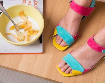 Multicolour sandals, Leather Sandals, Flats, Colorful sandals, Slingbacks, Festival sandals, Flat sandals, Made in Italy, Buckle strap